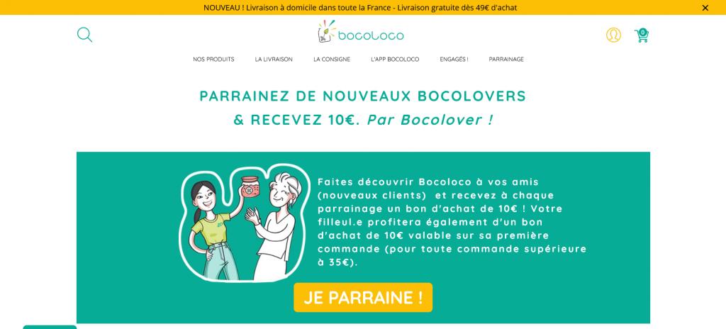 Exemple programme de parrainage Shopify de Bocoloco