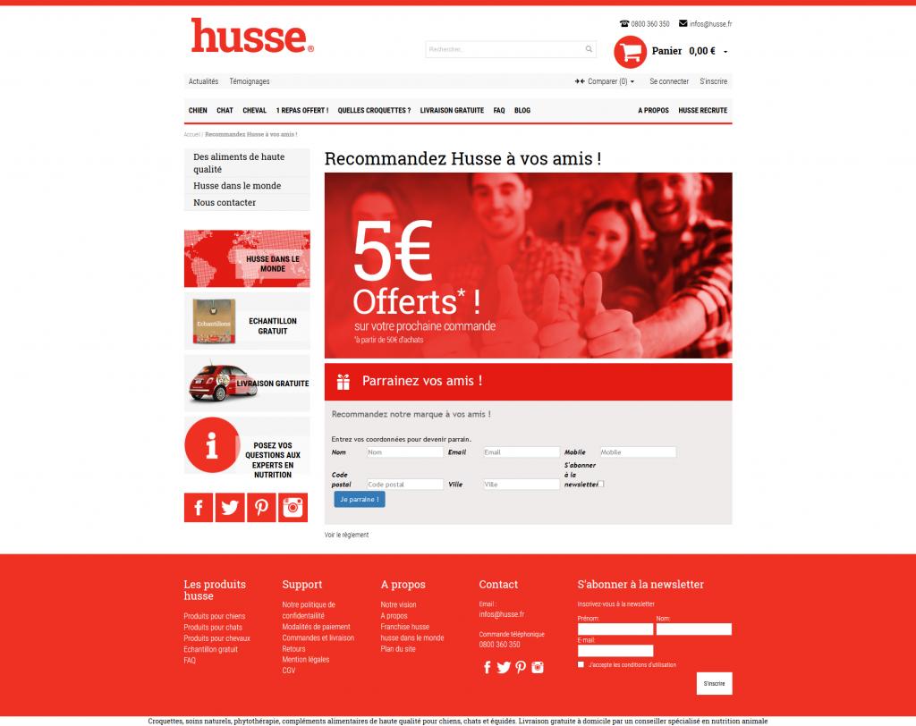 Landing page de Husse - Solution de parrainage Magento